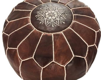 Dark Brown Moroccan Leather Pouf