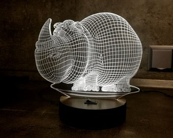 Table Lamp Rhino, Dad Gift, 3D Illusion Light, Bedroom Decor, Desk Lamp, Acrylic Lamp, LED Lamps, LED Night Light, Modern Lamp, Gift for Him
