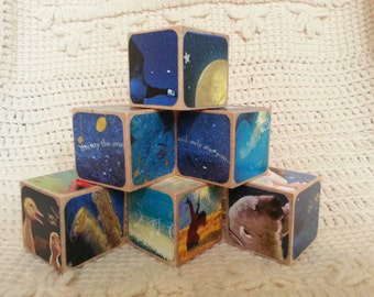 On The Night You Were Born Picture Book Wooden Blocks  -- Baby Shower Gift/Nursery Decor/Natural Toy