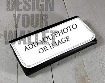 Women's wallet,Leather Bifold Wallet Personalized with your image or text. Design your own wallet. build a wallet. add photo design a wallet
