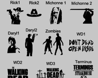 Walking Dead Inspired Vinyl Decal ~Rick ~ Michonne~ Daryl ~ zombies~ RTIC~ YETI~ Tumbler ~ Car