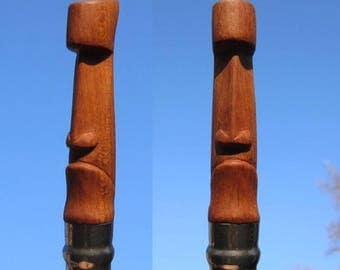 "Modified/custom pocket knife / folding knife. Tiki/Moai handle. ""The mad one"" (with EXTRA blade!)"