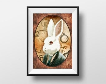 Post the White Rabbit - Digital Illustration printed on A4 photo paper