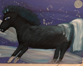 9x12 Acrylic painting beautiful frosty blue horse