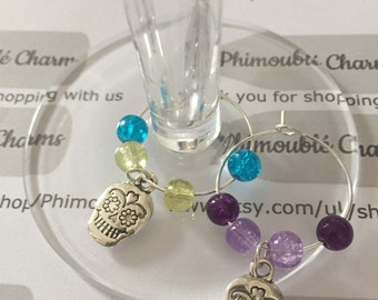 Day of The Dead Wine Glass Charm set