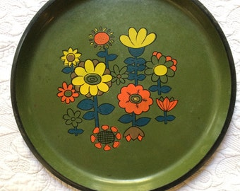 Vintage Floral Melamine Serving Tray - Retro Orange Yellow Blue Flower on Green Tray - Made in Japan