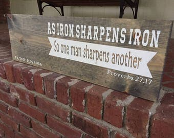 As Iron Sharpens Iron, Running Medal Holder, Race Bib Display, Running Medal Display, Race Bib Display, Gift For Runner, Marathon Gift,