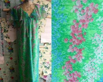 Vintage 1970s Flutter Sleeve Floral Hawaiian Maxi Dress. Large. L. Bow, flowey, sheer.