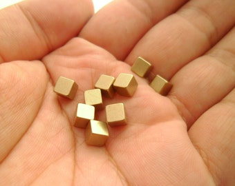 30pcs Square 5mm Eco-friendly Solid Raw Brass Cubes Without Hole Earring Studs Craft Supplies for Makers Lead Nickel Chromium Free 0103-0131