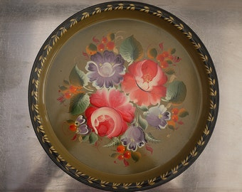 Vintage Cocktail tray round metal from Russia. Vintage Russian Tole Round Serving Tray, Toleware hand painted floral Drinks Tray.