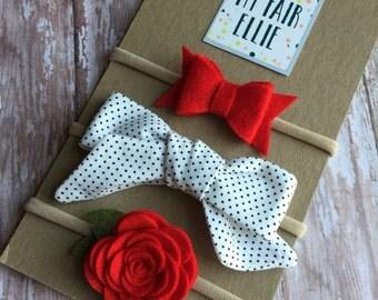 Valentine's Day Headband - Valentines Day  Headbands - Valentines Day Bow - Red Rose Headband
