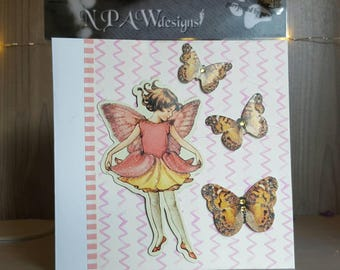 Butterflies and fairy blank greetings card