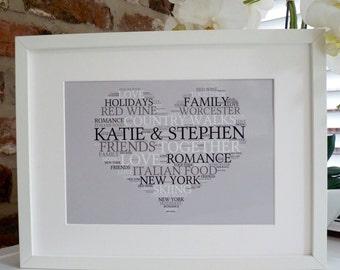 Personalised Heart Print, Personalised Valentines Print, Word Art Print,  Personalised Engagement Print,  Love Print, Heart Print