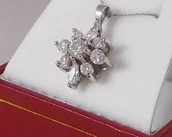 Diamond Cluster Pendant. 1.20 Carats Set in 14k White Gold