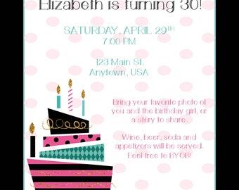 Dot and Cake Birthday Invite