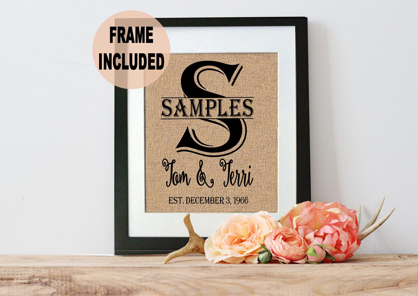 Monogrammed Wedding Gifts For Couple : Wedding Gifts for Couple Personalized Framed Burlap