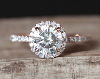 1.0ct Forever One Moissanite Engagement Ring Forever One 6.5mm Round Cut Moissanite Ring Half Eternity Halo Diamond Ring 14K Rose Gold Ring