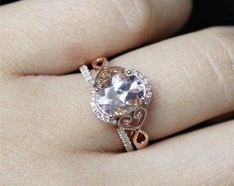 14K Rose Gold Engagement Ring Set VS Oval Cut 7*9mm Morganite Ring Halo Diamonds Half Eternity Pave Diamonds Gap Wedding Ring Set Bridal Set