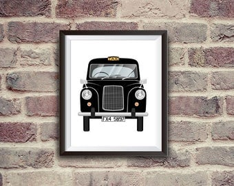 London taxi, Austin fx4, black cab, classic car, instant download, British style, wall decor, nursery decor
