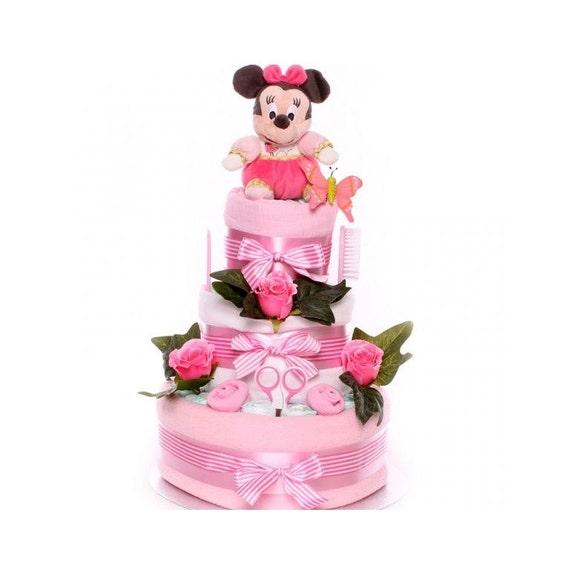 Minnie Mouse Luxury Nappy Cake, Disney Nappy Cake, Baby Girl Nappy Cake, Nappy Cake baby gift, gift new baby girl