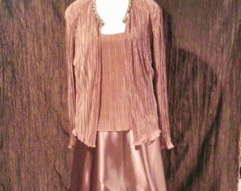 Cachet long formal beige with jacket, size 16W, free shipping