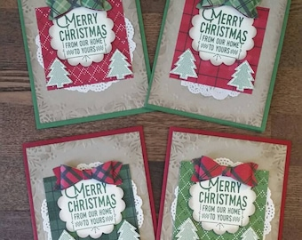 Christmas Cards (Set of 4): Stampin Up, Merry Christmas, Happy Holidays