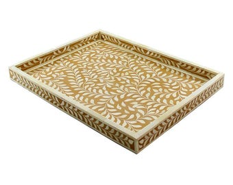 Bone Inlay Floral Gold Decorative Tray Ottoman Tray Coffee Table Tray Available In