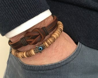 Leather bracelet in combination with beads bracelet with coconut and silver hamsa hand with evil eye bead