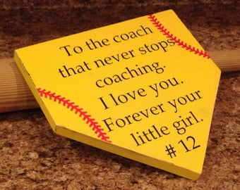 Thank you coach. Softball coach. Baseball coach. Home plate sign. Baseball sign. Softball sign. Custom sign. Gift for coach. Just for coach.