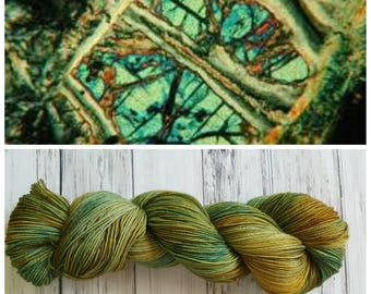 Hand Dyed Yarn, Merino and Nylon Fingering Weight Sock Yarn Perfect for Socks, Shawls and Other Lightweight Accessories - Serpentine
