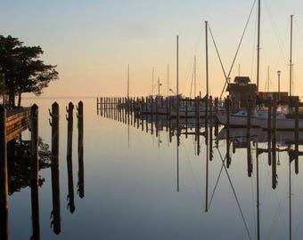 Sunrise, Marshe's Light Docks: Art,Photography,North Carolina,Manteo,Shallowbag Bay,Sailboats,Instant Download,Printable Art
