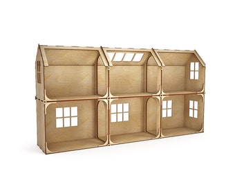 Modular doll house 6 rooms with furniture, dollhouse, Wood dollhouse, Dollhouse kit, barbie doll house, barbie house, 1:12 scale