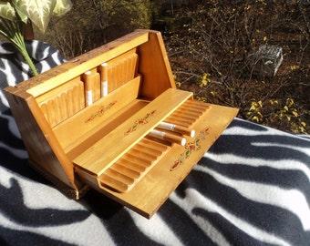 Vintage cigarette case Cigarette holder Cigarette box Tobacco box Cigarette tin Wood cigarettes box Cigarettes organizer Gift for smokers