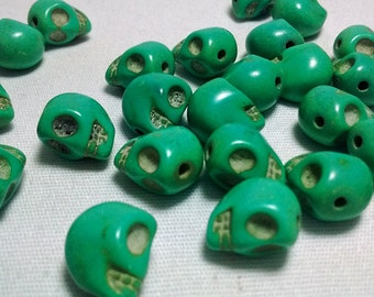 Clearance! 20 Green Skull Head Stone Beads Spacers - Teal - #100