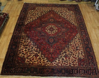 Thick Pile Large Burgundy Hand Made Heriz Persian Oriental Area Rug Carpet 8X11