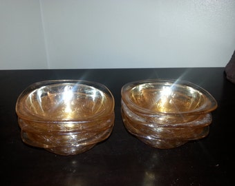 """Set of 6 Imperial Marigold Carnival Glass Small 5"""" Bowls"""