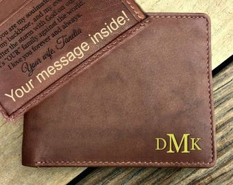Father's day gift from wife • gift for him • genuine leather wallet • gift for husband • personalized gift • gift • Toffee* 7751
