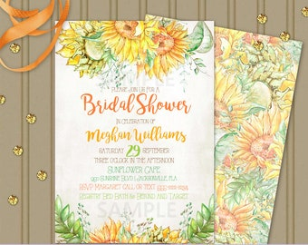 Sunflower Invitation | Yellow Orange Green Flowers  | Personalized Digital Invitation