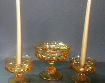 Vintage amber candle holders and matching open candy dish.  Viking glass,  king's crown.