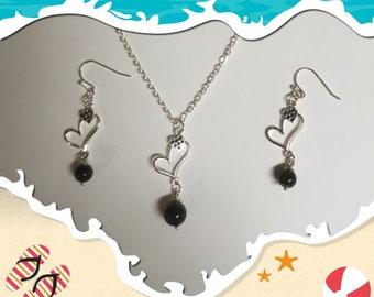 Silver Heart Necklace & Earrings
