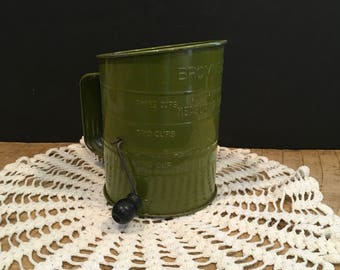 Vintage Flour Sifter Green Bromwells Measuring Sifter Hand Crank Metal Made in the USA Farmhouse Kitchen Decor Repurposed Flower Planter