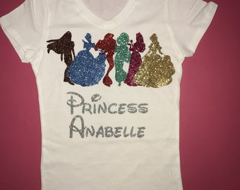 Princess birthday shirt disney princesses glitter birthday princess shirt