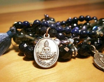 30% off!  Set of 5 blue bangles with charms of Buddha