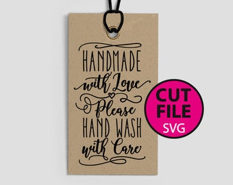 handmade with love, please hand wash with care, SVG, eps, png, jpeg, dxf, vector, cut file, digital download