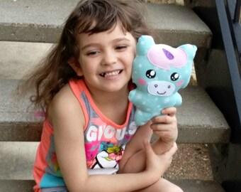 Handmade Pastel Unicorn, Cloth Doll Unicorn, Whimsical  Stuffie Washable Toy