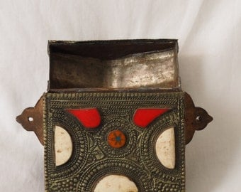 antique old Moroccan brass and silver box