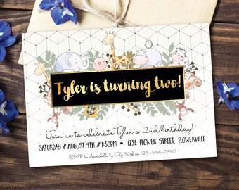 Animal birthday invitation, woodland birthday invitation, birthday invitation, boy birthday, girl birthday, zoo, geometric, gold (Tyler)