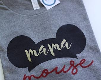 Grey Mama Mouse,  Funny graphic tee, mom tee, mom shirt, mama shirt