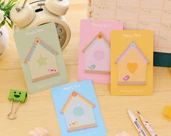 Birds in birdhouses mini sticky notes post it notes cute kawaii set of 4