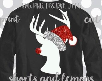 Hipster Santa svg, hipster reindeer svg, reindeer svg, Santa Hat svg, Christmas SVG, DXF, EPS, cut files, snowman svg, Monogram svg, iron on